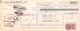 11-0563    1938  ETS LEON GUILBERT & FILS A PARIS - M.GLADEL A CLERMONT FERRAND - Lettres De Change