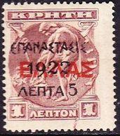 GREECE 1923 1922 Overprint On Cretan Stamps Of 1909 / 10 : 5 L / 1 L Brown MH Vl. 368* - Ongebruikt