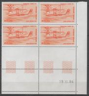 PA.n°58 ** En Bloc De 4 Coin Daté (19.11.84)      - Cote 50€ - - Coins Datés
