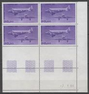 PA.n°59 ** En Bloc De 4 Coin Daté (7.1.86)      - Cote 70€ - - Dated Corners