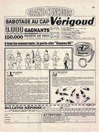 PUBLICITE EXTRAITE D'UNE REVUE GRAND CONCOURS SABOTAGE AU CAP VERIGOUD / AU DOS CHOCOLAT MENIER A VOIR - Publicités