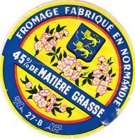 ETIQUETTE FROMAGE CAMEMBERT  - FLEURS -    Fab En NORMANDIE  27-B - Cheese