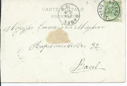 Fantasiekaart Met OCB 56 - Afstempeling ANVERS DEPART / BASEL- COBA 8 - 1893-1907 Armoiries