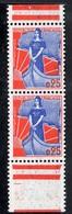 N° 1234 MARIANNE A LA NEF 25c.T.II  PAIRE VERTICALE DE CARNET AVEC BANDE BLANCHE - Unused Stamps