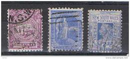 NUOVO  GALLES  DEL  SUD:  1888/98  DIVERSI  -  3  VAL. US. -  YV/TELL. 59 + 73 + 76 - 1850-1906 New South Wales