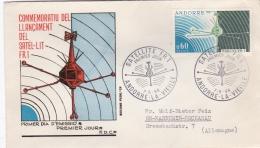French Andorra FDC 1966 Satellit FR1 (DD23-8) - FDC