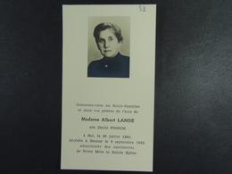 Cécile Possoz épse Lange Hal 1890 Namur 1962 /58/ - Images Religieuses