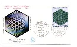 1977 FDC PEINTURE DE VASARELY - 1970-1979