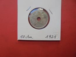 CONGO BELGE 10 Centimes 1921 TTB/TTB+ - Congo (Belgian) & Ruanda-Urundi