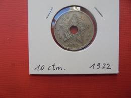CONGO BELGE 10 Centimes 1922 TTB/TTB+ - Congo (Belgian) & Ruanda-Urundi