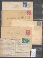 Lettre Avec Cachet Convoyeur Longueville à Montereau- à Provins-à Troyes -à Paris  Et 1 Et 2  Et Retour - 5 Piéces - Poste Ferroviaire