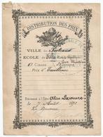 """VILLE DE PUTEAUX  : ETIQUETTE  """" DISTRIBUTION DES PRIX  """" 1892 - Diplomi E Pagelle"""