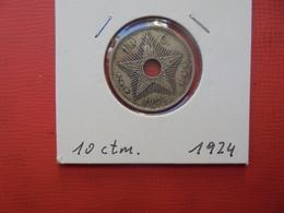 CONGO BELGE 10 Centimes 1924 TTB/TTB+ - Congo (Belgian) & Ruanda-Urundi