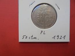 CONGO BELGE 50 Centimes 1921 VL TTB+ - Congo (Belgian) & Ruanda-Urundi
