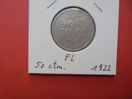 CONGO BELGE 50 Centimes 1922 VL TTB+ - Congo (Belgian) & Ruanda-Urundi