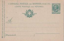 ITALIE ENTIER POSTAL CARTE AVEC REPONSE - 1900-44 Victor Emmanuel III