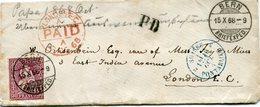 SUISSE LETTRE DEPART BERN 15 X 68 POUR LA GRANDE-BRETAGNE - 1862-1881 Helvetia Seduta (dentellati)
