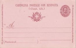 ITALIE ENTIER POSTAL CARTE AVEC REPONSE - 1878-00 Humbert I