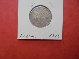 CONGO BELGE 50 Centimes 1929 FR TTB/TTB+ - Congo (Belge) & Ruanda-Urundi