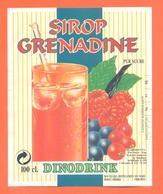 étiquette Sirop De Grenadine Dinodrik Distilleries Du Nord à Cambrai - 100 Cl - Fruits & Vegetables