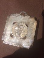 Capoculla Medaglione Culla Bambino Cornice In Argento 800 Vintage Angelo E Bambino Vintage - Silverware