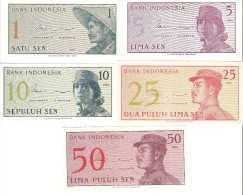 Indonesia - Pick 90 To 94 - 1-5-10-25-50 Sen 1964 - Unc - Set 5 Banknotes - Indonésie