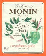étiquette Sirop De Menthe Verte Monin à Bourges - 100 Cl - Fruits & Vegetables