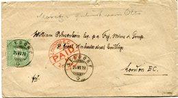 SUISSE LETTRE DEPART SEEDORF 24 VI 78 POUR LA GRANDE-BRETAGNE - 1862-1881 Helvetia Assise (dentelés)