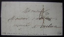 """1828 P Dans Petit Triangle Fermé Avec Notation """"Banlieue"""" Sur Une Lettre Pour Melun - Marcophilie (Lettres)"""