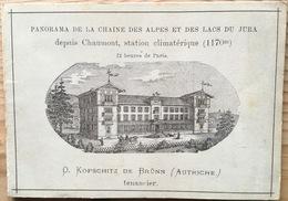 Panorama De Chaumont 5 Volets Près Neuchâtel Litho FURRER Carte Publicitaire Hôtel 9x12 Cm Env. 1900 Port Gratuit - NE Neuenburg