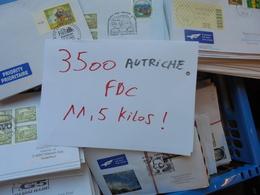 +- 3500 FDC AUTRICHE DONT PERIODE EURO ! TRES BEAU LOT 11 KILOS 500 - FDC