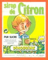 étiquette De Sirop De Citron Dinodrink Distillerie Du Nord à Cambrai - 100 Cl - Fruits & Vegetables