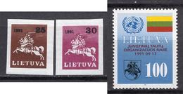 1991/92 - LITUANIA - LITHUANIA - LITUANIE - LITAUEN -  Mi. Nr. 482/483+495 - MINT - (0120.6) - Lituania