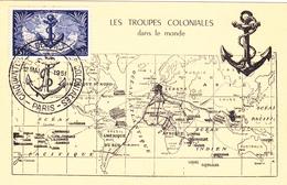 Carte-Maximum FRANCE N° Yvert 889 (TROUPES COLONIALES) Obl Sp Ill 1er Jour (Ed PG) - Maximum Cards