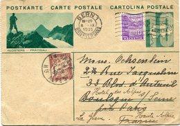 SUISSE ENTIER POSTAL AVEC AFFR. COMPLEMENTAIRE DEPART BERN 8 IX 1935 POUR PARIS REEXPEDIE ET TAXE A LA GRAVE 12-9-35... - Entiers Postaux