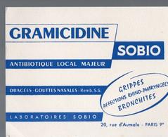 Paris Rue D'Aumale  : Buvard GRAMICIDINE SOBIO (pharmacie) (PPP14951) - Chemist's