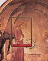"""Ajman 1972 Mi. Bf. 457B """"Annunciazione Della Cella 3"""" Affresco Quadro Dipinto Beato Angelico Imperf. CTO Paintings - Ajman"""