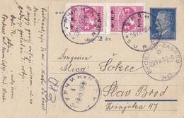 Yugoslavia - Uprated Stationery Surcin 1950 TPO Railway Pmk Bahnpost Beograd-Zagreb 40 - Entiers Postaux