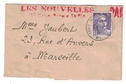 1953 - GANDON N° 883 SEUL SUR BANDE DE JOURNAL ENTETE LES NOUVELLES SAIGON CAD PARIS TRI Pour MARSEILLE PAR AVION - Storia Postale