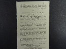 Marie Petre épse Van Ham ? 1947 /01/ - Images Religieuses