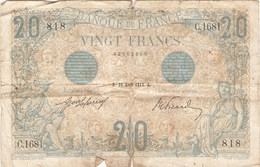 "Billet De France, 20 Francs ""bleu"", 25 Avril 1912, C31681 N°818, Défauts - 1871-1952 Anciens Francs Circulés Au XXème"