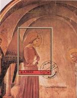 """Ajman 1972 Mi. Bf. 457A """"Annunciazione Della Cella 3"""" Affresco Quadro Dipinto Beato Angelico Perf. CTO Paintings - Quadri"""