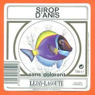 étiquette De Sirop D'anis Lejay Lagoute à Dijon - 100 Cl - Poisson Exotique - Fruits & Vegetables