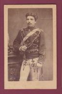 120918 - PHOTO CDV HERMANN LEON MILITARIA GUERRE - ROUMANIE ? - épée - Guerra, Militares