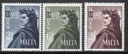 Malta Complete Set Of Stamps To Celebrate 700th Birth Of Dante 1965. - Malta