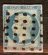RARE NAPOLEON N°10a 25c Bleu Foncé Oblitéré GROS POINTS Cote + 150 Euro - 1852 Louis-Napoléon