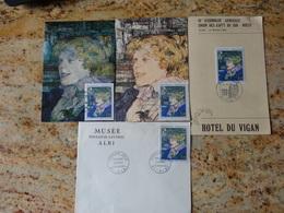 1er Jour Albi Lot De 4 Documents 65eme Anniversaire Du Musee Toulouse Lautrec 1965 - 1980-1989