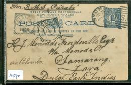 NEW SOUTH WALES GESCHREVEN POSTCARD Uit 1892 Gelopen Per R.M.S. ORIZABA Van SYDNEY Via COLOMBO Naar SEMARANG  (11.370) - 1850-1906 New South Wales