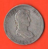 Messico Mexico 8 Reales 1816 JJ Silver Coin Re Ferdinando VII° - Messico