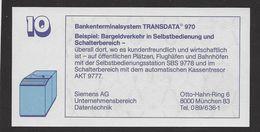 """Test Note """"SIEMENS-TRANSDATA, Unternehmens-Bereich Datentechnik"""""""" Testnote, 10 DM, Beids. Druck, UNC - Deutschland"""
